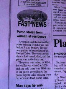stolen purse